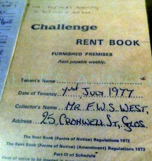 Rent book and other paperwork relating to  214 Southgate Street Glos ownen by Fred & Rose  West .and rented to Mrs Wagner as a cafe , It is highly rumourrd that there are more bodies buried here., ths building was demolished years ago and rebuilt