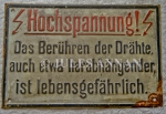 Gross Rosen Concentration Camp electrified  perimeter fence warning sign