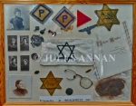 Collage of various items recovered from Auschwitz death camp at the time of liberation at the end of WW2