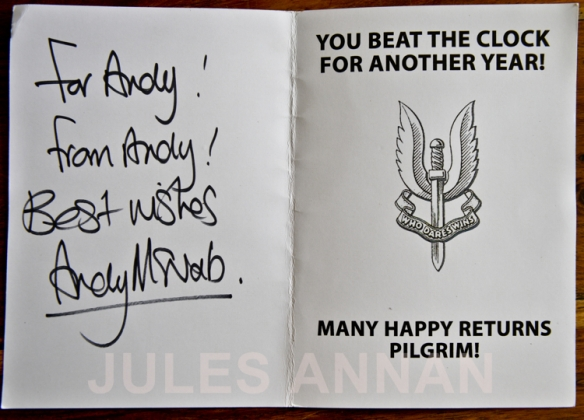 ORIGINAL SAS BIRTHDAY CARD FROM BRAVO TWO ZERO SAS HERO ANDY McNAB TO ANDY JONES OF LITTLEDEAN JAIL   NOW ON DISPLAY AT THE WHO DARES WINS SAS  EXHIBITION AT LITTLEDEAN JAIL, UK