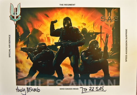 ORIGINAL SAS BRAVO TWO ZERO  HERO ANDY McNAB HAND SIGNED PHOTOGRAPH NOW ON DISPLAY AT THE WHO DARES WINS SAS  EXHIBITION AT LITTLEDEAN JAIL, UK