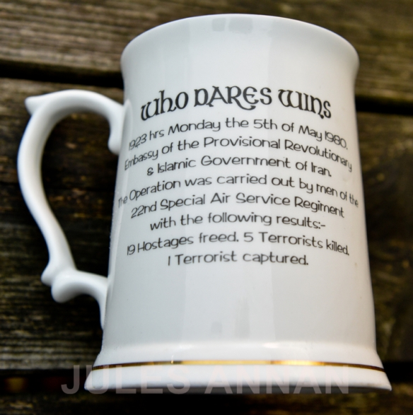 "COMMEMARATIVE PLATE AND TANKARD FOR THE 20TH ANNIVERSARY OF OPERATION NIMROD (THE IRANIAN EMBASSY SIEGE 1980) NOW ON DISPLAY AT LITTLEDEAN JAIL'S ...""WHO DARES WINS "" - SAS COUNTER TERRORISM  EXHIBITION ..."