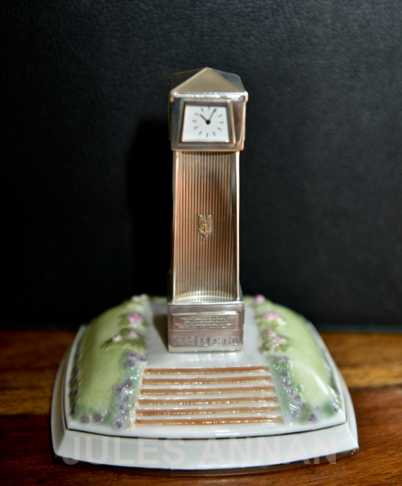 LIMITED EDITION DECORATIVE SILVER  SAS HALLMARKED CLOCK TOWER AND CERAMIC BASE SAS PRESENTATION STATUE  NOW ON DISPLAY AT THE WHO DARES WINS SAS  EXHIBITION AT LITTLEDEAN JAIL, UK
