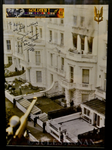 REAR OF IRANIAN EMBASSY AT TIME OF THE FINAL ASSAULT , SIGNED BY PETE WINNER