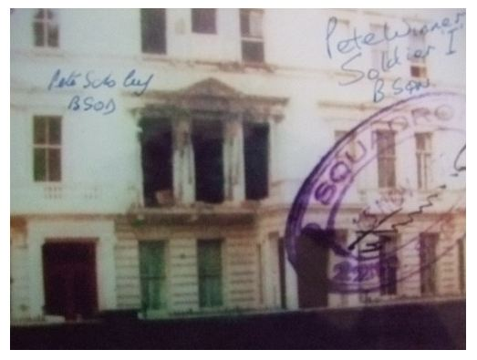 Personally signed (and original) signature on this 8x6 print which shows the damage to the Iranian Embassy after the Siege. Personally autographed on each print by Pete Winner/Soldier I who assaulted from the back and was involved with the terrorist on the stairs plus Pete Scholey (author of The Joker and SAS Hereos best-sellers) who was with the Advance Party and helped to install the surveillance equipment during the Siege..