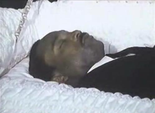 MARTIN LUTHER KING IN HIS COFFIN SHORTLY BEFORE FUNERAL