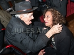 Ronnie Biggs with long time friend Dorothy  at the wake for  Bruce Reynolds the Great Train Robbery mastermind, London, UK