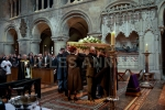Bruce Reynolds coffin leaves  the church  at   Bruce Reynolds the Great Train Robbery masterminds funeral, London, UK