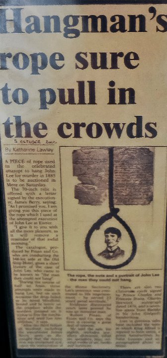 NEWSPAPER ARTICLE BACK ON 05TH OCTOBER 2000 RELATING TO THE UPCOMING AUCTION SALE OF THE NOOSE AND HANGMAN'S LETTER .......SUBSEQUENTLY BOUGHT BY THE CRIME THROUGH TIME COLLECTION, NOW ON DISPLAY AT LITTLEDEAN JAIL