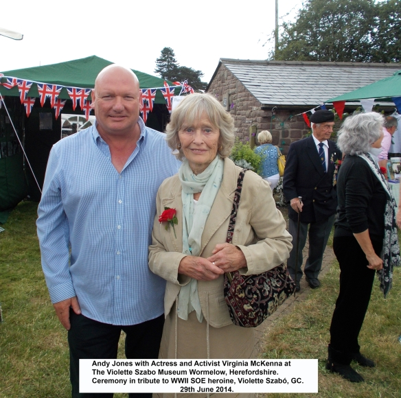 ANDY JONES WITH VIRGINIA McKENNA   AT A RECENT VIOLETTE SZABO MEMORIAL EVENT AT THE VIOLETTE SZABO MUSEUM , WORMELOW IN 2014