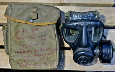 "Picture By:Jules Annan Picture Shows:Authentic hand signed S6 NBC protective gas mask, respirator and holdall as of the type used during the Iranian Embassy Siege on 5 May 1980 by former SAS trooper ... Pete Winner, AKA Soldier ""I"", now on display to the public here at the Crime Through Time Collection at Littledean jail, Gloucestershire Date ;10/06/2014"