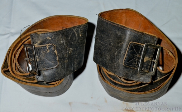 ORIGINAL 1930'S  LEATHER RESTRAINT STRAPS   ACQUIRED FROM THE MONICA BRITTON MUSEUM COLLECTION AT FRENCHAY HOSPITAL , BRISTOL AND NOW ON DISPLAY HERE AT THE CRIME THROUGH TIME COLLECTION , LITTLEDEAN JAIL , GLOUCESTERSHIRE, UK