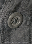 "Close up of button on original Malcom McLaren and Vivienne Westwood black labelled Punk Rock ""Parachute"" shirt circa 1977"