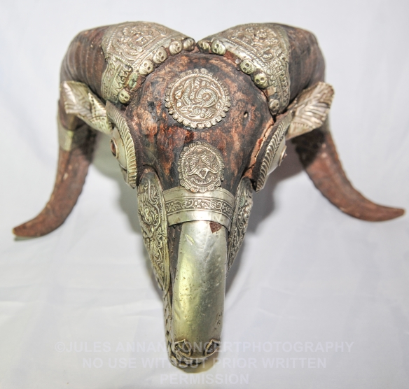 Very rare Tibetan heavily embossed and highly decorative ram's head . This was used for ritual purposes and to ward spirits